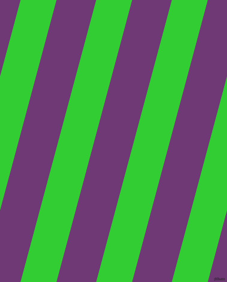 75 degree angle lines stripes, 116 pixel line width, 128 pixel line spacing, Lime Green and Eminence angled lines and stripes seamless tileable