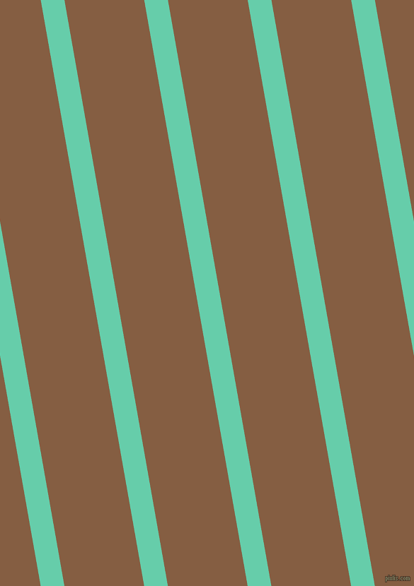 100 degree angle lines stripes, 33 pixel line width, 111 pixel line spacing, Medium Aquamarine and Dark Wood angled lines and stripes seamless tileable