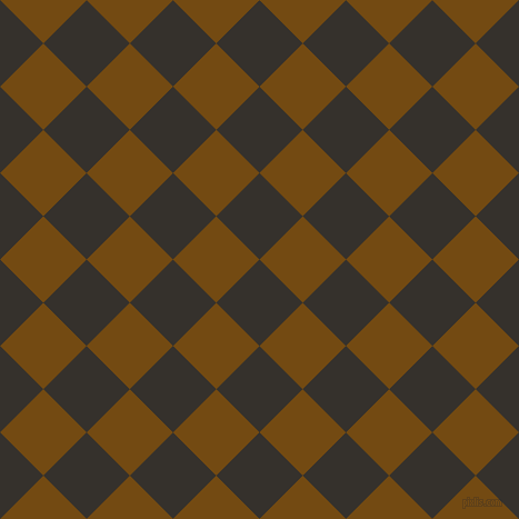 45/135 degree angle diagonal checkered chequered squares checker pattern checkers background, 55 pixel square size, , Acadia and Raw Umber checkers chequered checkered squares seamless tileable