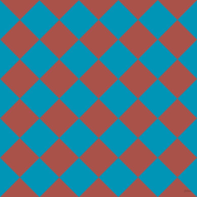 45/135 degree angle diagonal checkered chequered squares checker pattern checkers background, 110 pixel squares size, , Apple Blossom and Bondi Blue checkers chequered checkered squares seamless tileable