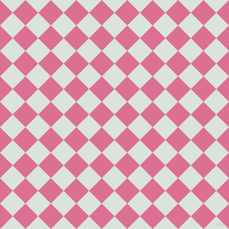 45/135 degree angle diagonal checkered chequered squares checker pattern checkers background, 59 pixel square size, , Aqua Squeeze and Pale Violet Red checkers chequered checkered squares seamless tileable