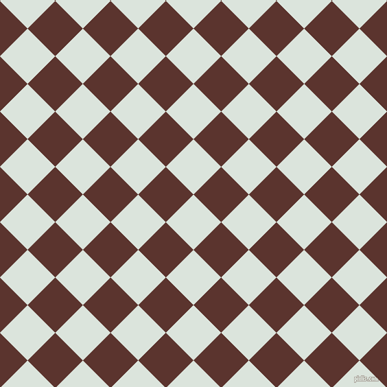 45/135 degree angle diagonal checkered chequered squares checker pattern checkers background, 57 pixel squares size, , Aqua Squeeze and Redwood checkers chequered checkered squares seamless tileable