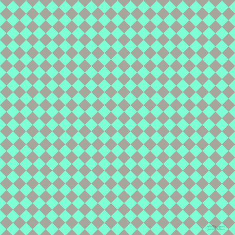 45/135 degree angle diagonal checkered chequered squares checker pattern checkers background, 18 pixel square size, , Aquamarine and Foggy Grey checkers chequered checkered squares seamless tileable