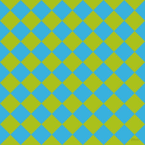 45/135 degree angle diagonal checkered chequered squares checker pattern checkers background, 61 pixel squares size, , Bahia and Summer Sky checkers chequered checkered squares seamless tileable