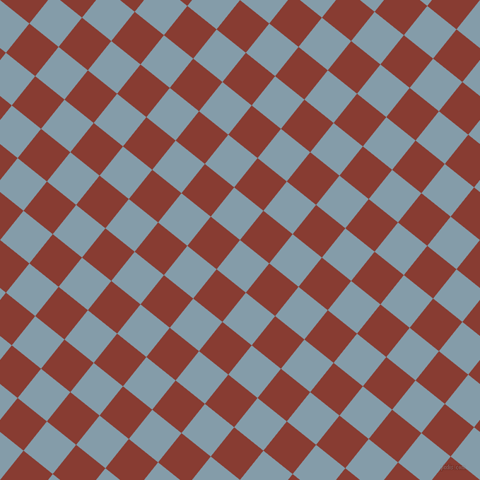 51/141 degree angle diagonal checkered chequered squares checker pattern checkers background, 53 pixel squares size, , Bali Hai and Prairie Sand checkers chequered checkered squares seamless tileable