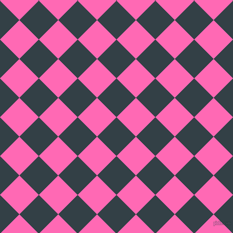 45/135 degree angle diagonal checkered chequered squares checker pattern checkers background, 56 pixel squares size, , Big Stone and Hot Pink checkers chequered checkered squares seamless tileable