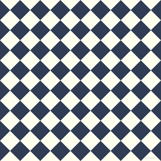 45/135 degree angle diagonal checkered chequered squares checker pattern checkers background, 50 pixel square size, , Biscay and Ivory checkers chequered checkered squares seamless tileable