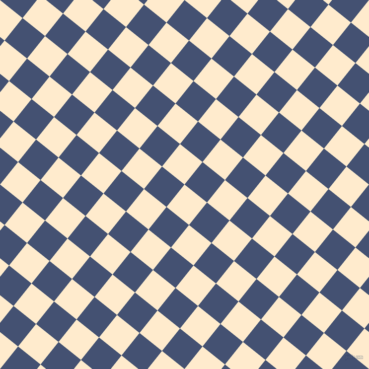 51/141 degree angle diagonal checkered chequered squares checker pattern checkers background, 58 pixel squares size, , Blanched Almond and Astronaut checkers chequered checkered squares seamless tileable