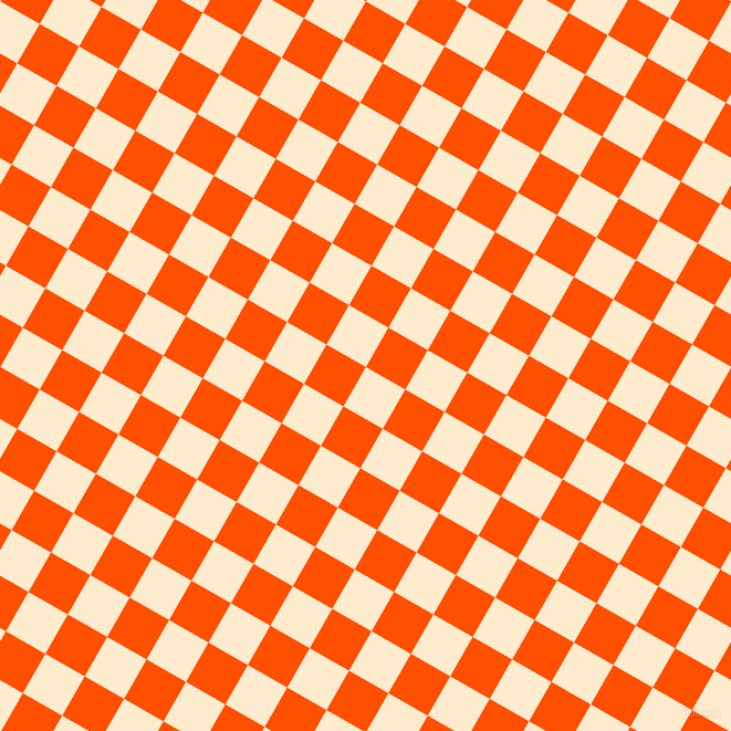 60/150 degree angle diagonal checkered chequered squares checker pattern checkers background, 41 pixel squares size, , Blanched Almond and International Orange checkers chequered checkered squares seamless tileable