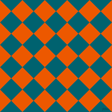 45/135 degree angle diagonal checkered chequered squares checker pattern checkers background, 64 pixel squares size, , Blue Lagoon and Persimmon checkers chequered checkered squares seamless tileable