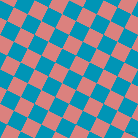 63/153 degree angle diagonal checkered chequered squares checker pattern checkers background, 52 pixel squares size, Bondi Blue and Sea Pink checkers chequered checkered squares seamless tileable