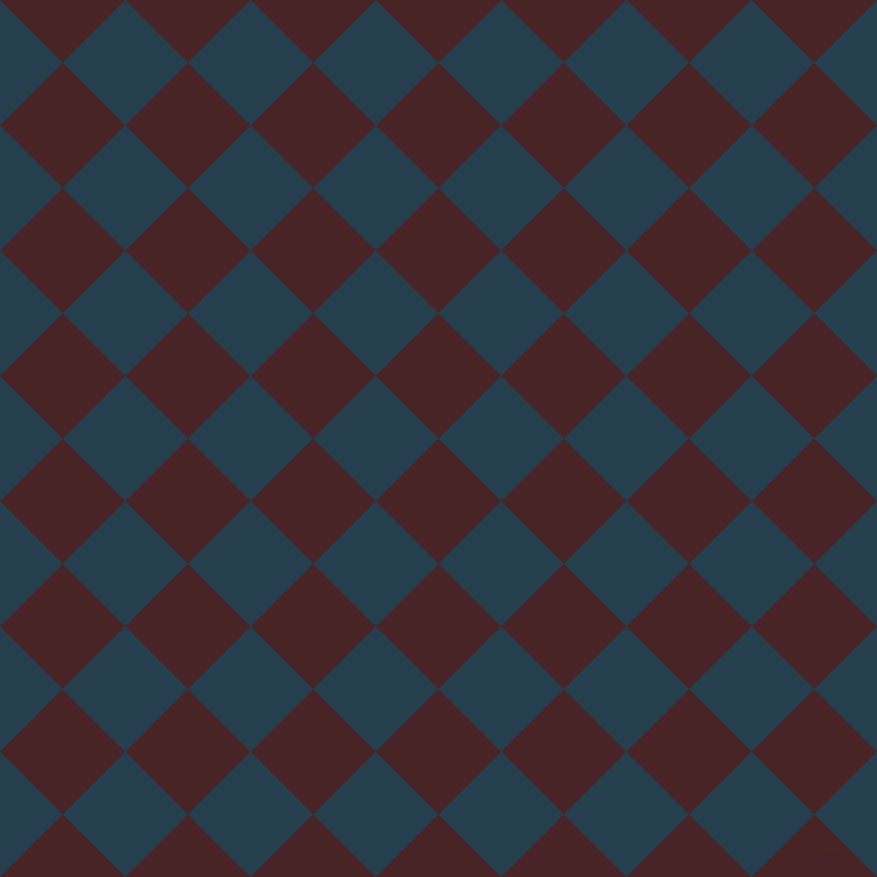 45/135 degree angle diagonal checkered chequered squares checker pattern checkers background, 80 pixel squares size, , Bulgarian Rose and Nile Blue checkers chequered checkered squares seamless tileable