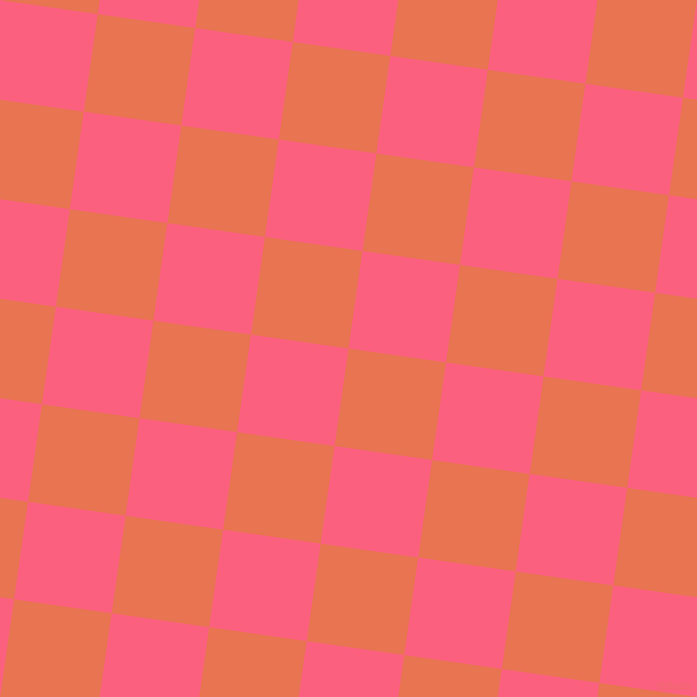 82/172 degree angle diagonal checkered chequered squares checker pattern checkers background, 108 pixel squares size, , Burnt Sienna and Brink Pink checkers chequered checkered squares seamless tileable