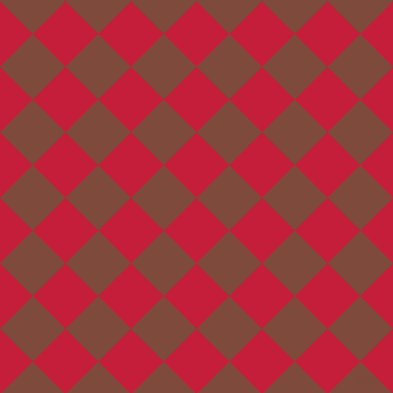 45/135 degree angle diagonal checkered chequered squares checker pattern checkers background, 66 pixel square size, , Cardinal and Nutmeg checkers chequered checkered squares seamless tileable