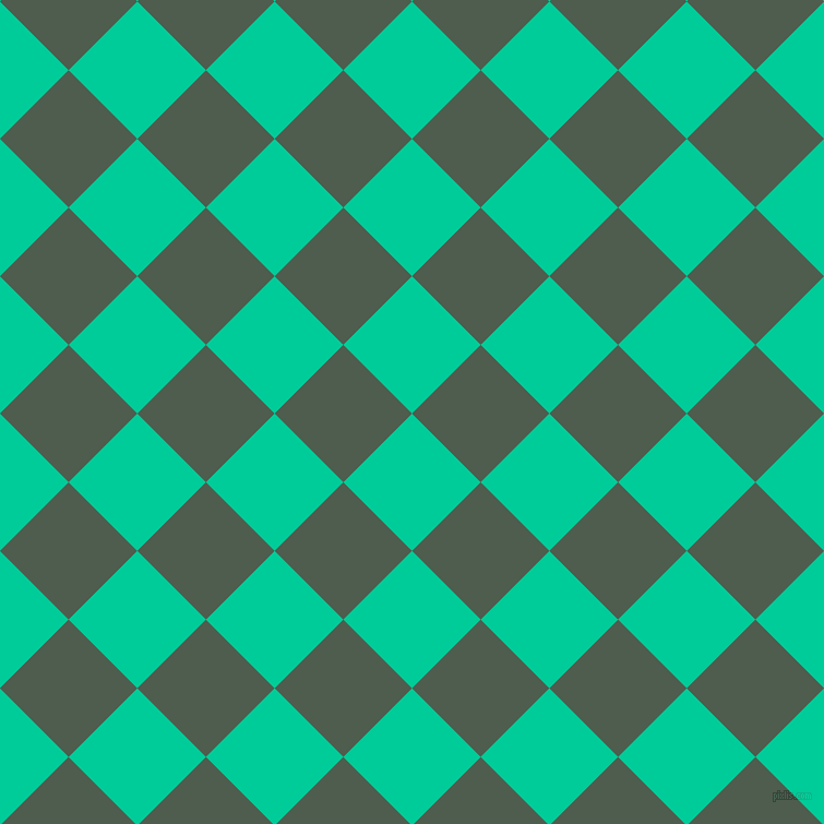 45/135 degree angle diagonal checkered chequered squares checker pattern checkers background, 89 pixel square size, , Caribbean Green and Nandor checkers chequered checkered squares seamless tileable