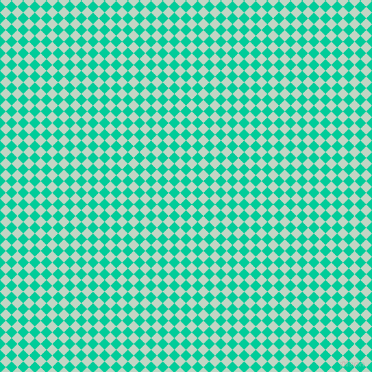 45/135 degree angle diagonal checkered chequered squares checker pattern checkers background, 12 pixel squares size, , Caribbean Green and Sea Mist checkers chequered checkered squares seamless tileable