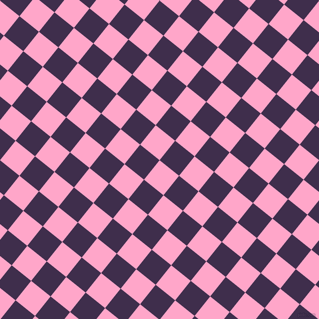 51/141 degree angle diagonal checkered chequered squares checker pattern checkers background, 50 pixel squares size, , Carnation Pink and Jagger checkers chequered checkered squares seamless tileable