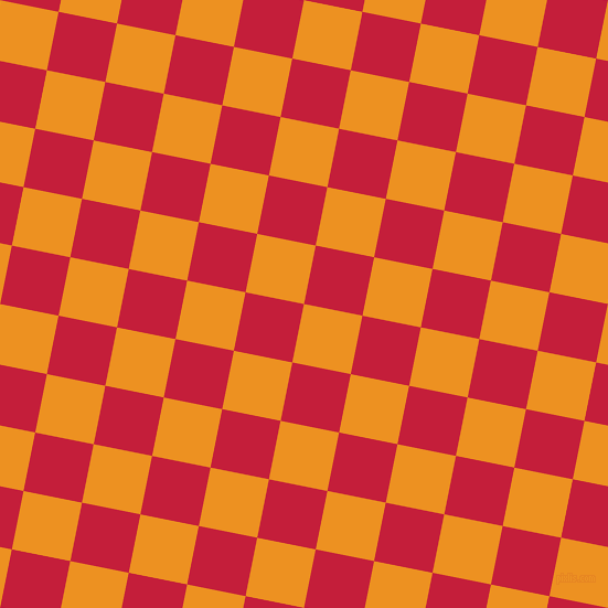 79/169 degree angle diagonal checkered chequered squares checker pattern checkers background, 54 pixel square size, Carrot Orange and Cardinal checkers chequered checkered squares seamless tileable