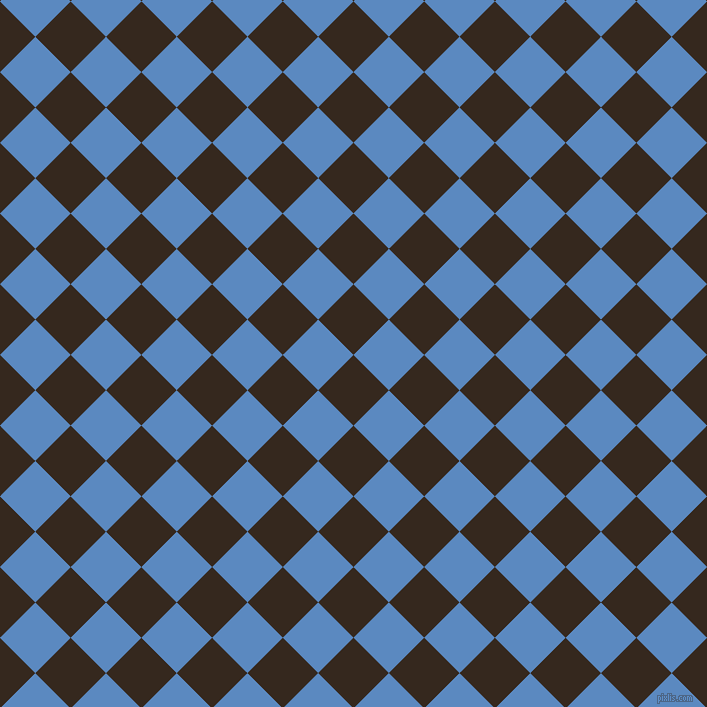 45/135 degree angle diagonal checkered chequered squares checker pattern checkers background, 50 pixel square size, , Cocoa Brown and Danube checkers chequered checkered squares seamless tileable