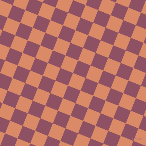 68/158 degree angle diagonal checkered chequered squares checker pattern checkers background, 45 pixel square size, Copper and Cannon Pink checkers chequered checkered squares seamless tileable