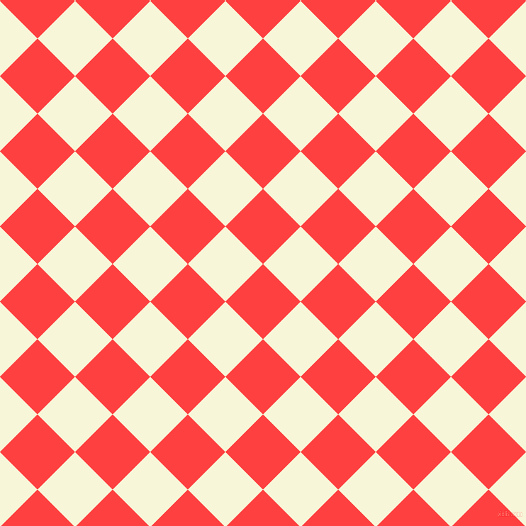 45/135 degree angle diagonal checkered chequered squares checker pattern checkers background, 75 pixel squares size, , Coral Red and White Nectar checkers chequered checkered squares seamless tileable