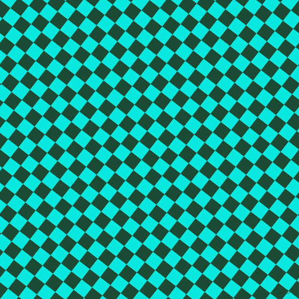 52/142 degree angle diagonal checkered chequered squares checker pattern checkers background, 26 pixel squares size, County Green and Bright Turquoise checkers chequered checkered squares seamless tileable