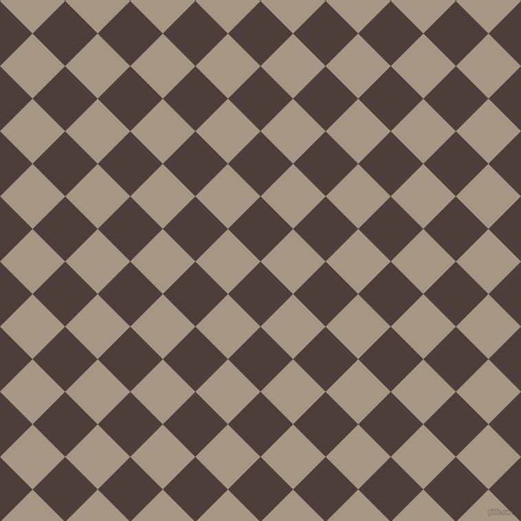 45/135 degree angle diagonal checkered chequered squares checker pattern checkers background, 67 pixel squares size, Crater Brown and Malta checkers chequered checkered squares seamless tileable