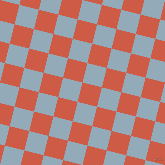 76/166 degree angle diagonal checkered chequered squares checker pattern checkers background, 68 pixel square size, , Dark Coral and Nepal checkers chequered checkered squares seamless tileable