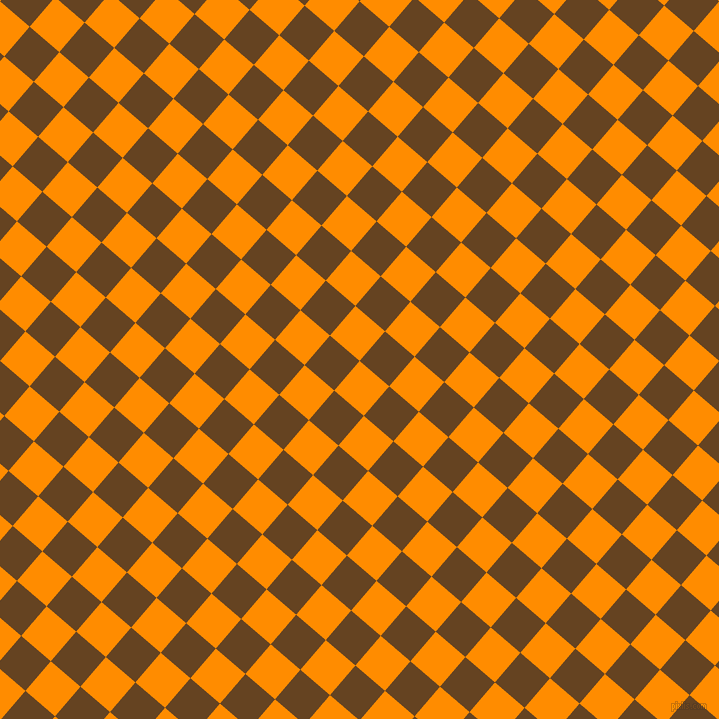 49/139 degree angle diagonal checkered chequered squares checker pattern checkers background, 39 pixel squares size, , Dark Orange and Dark Brown checkers chequered checkered squares seamless tileable