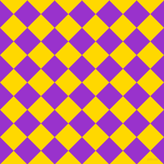 45/135 degree angle diagonal checkered chequered squares checker pattern checkers background, 66 pixel squares size, , Dark Orchid and School Bus Yellow checkers chequered checkered squares seamless tileable