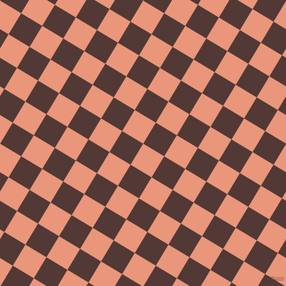 59/149 degree angle diagonal checkered chequered squares checker pattern checkers background, 50 pixel squares size, , Dark Salmon and Van Cleef checkers chequered checkered squares seamless tileable