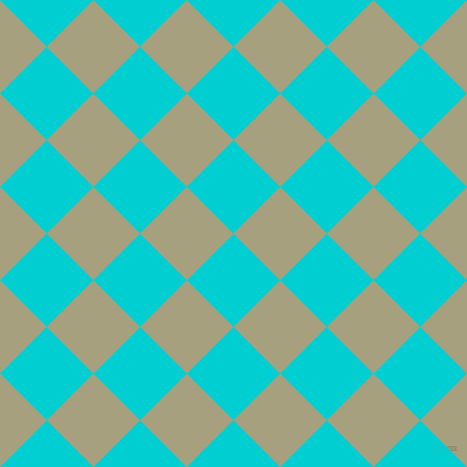45/135 degree angle diagonal checkered chequered squares checker pattern checkers background, 95 pixel squares size, , Dark Turquoise and Hillary checkers chequered checkered squares seamless tileable
