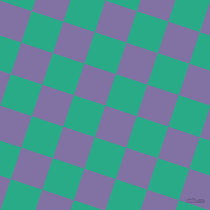 72/162 degree angle diagonal checkered chequered squares checker pattern checkers background, 65 pixel squares size, , Deluge and Jungle Green checkers chequered checkered squares seamless tileable