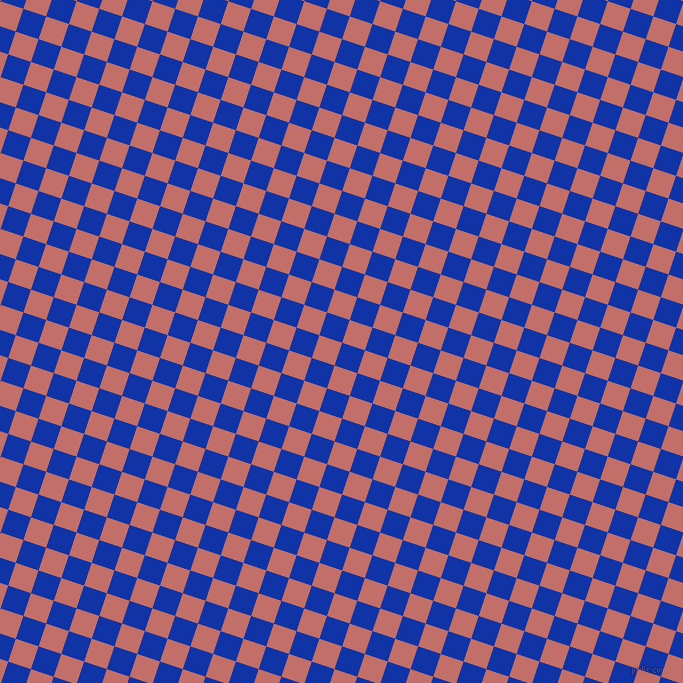 72/162 degree angle diagonal checkered chequered squares checker pattern checkers background, 24 pixel squares size, , Egyptian Blue and Contessa checkers chequered checkered squares seamless tileable