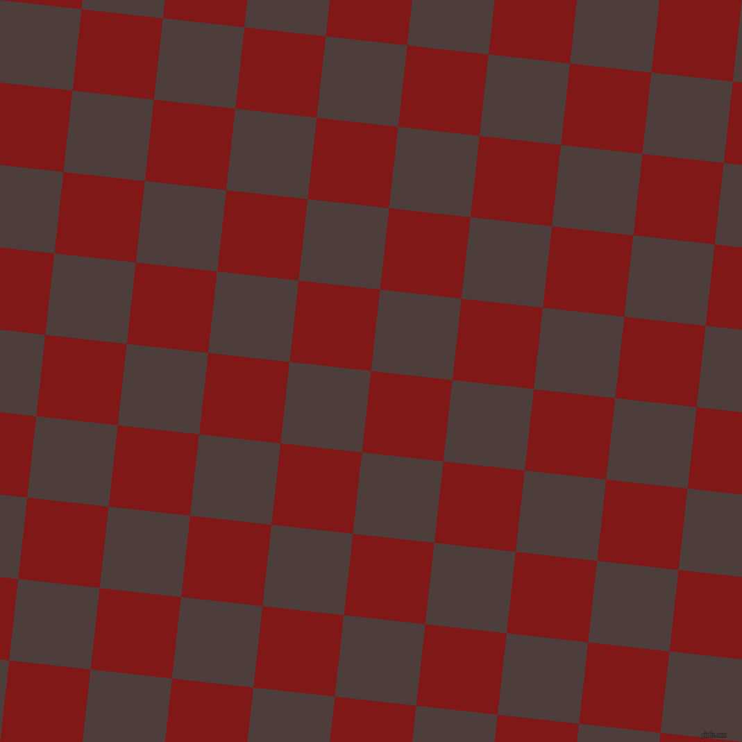 84/174 degree angle diagonal checkered chequered squares checker pattern checkers background, 118 pixel squares size, , Falu Red and Crater Brown checkers chequered checkered squares seamless tileable