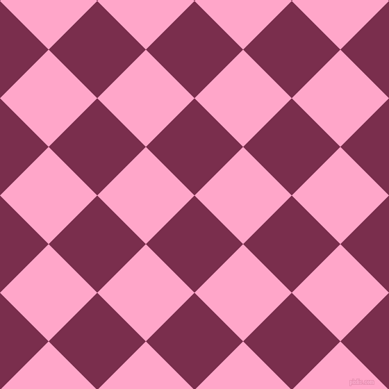 45/135 degree angle diagonal checkered chequered squares checker pattern checkers background, 99 pixel square size, , Flirt and Carnation Pink checkers chequered checkered squares seamless tileable
