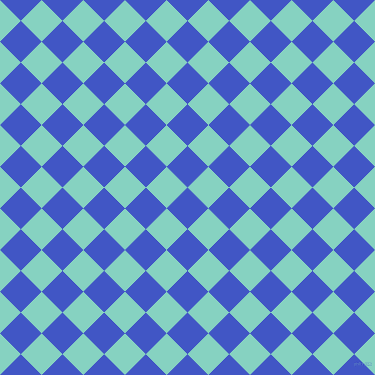 45/135 degree angle diagonal checkered chequered squares checker pattern checkers background, 59 pixel squares size, , Free Speech Blue and Bermuda checkers chequered checkered squares seamless tileable