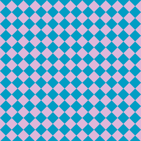 45/135 degree angle diagonal checkered chequered squares checker pattern checkers background, 28 pixel squares size, , French Lilac and Pacific Blue checkers chequered checkered squares seamless tileable