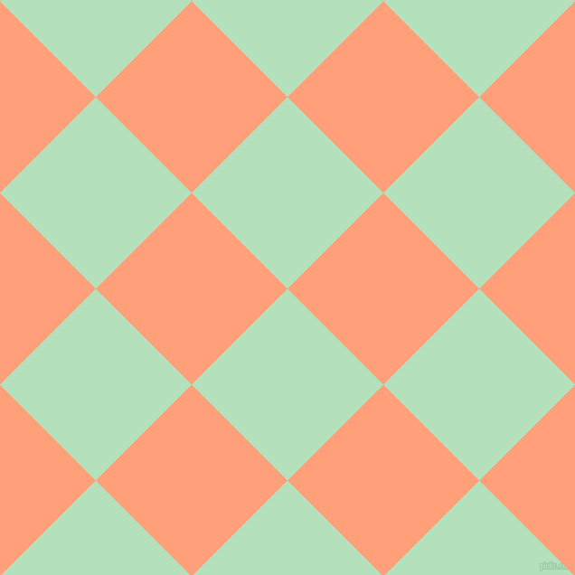 45/135 degree angle diagonal checkered chequered squares checker pattern checkers background, 150 pixel square size, Fringy Flower and Light Salmon checkers chequered checkered squares seamless tileable