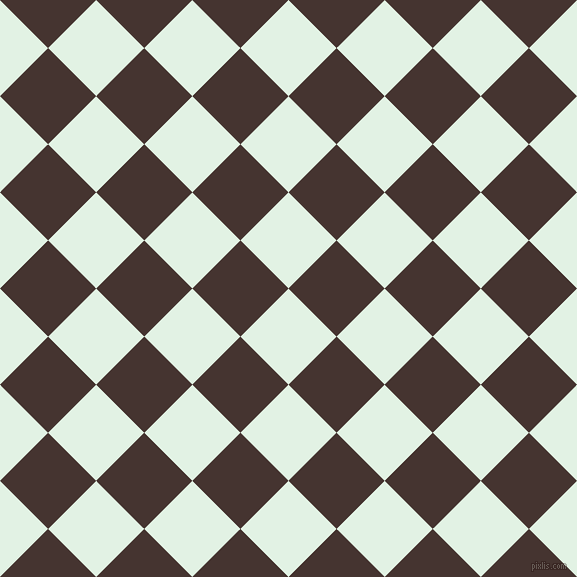 45/135 degree angle diagonal checkered chequered squares checker pattern checkers background, 68 pixel square size, , Frosted Mint and Rebel checkers chequered checkered squares seamless tileable
