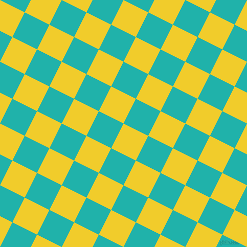 63/153 degree angle diagonal checkered chequered squares checker pattern checkers background, 54 pixel squares size, , Golden Dream and Light Sea Green checkers chequered checkered squares seamless tileable