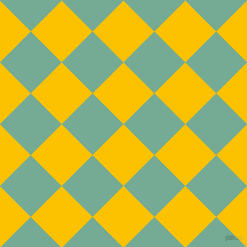 45/135 degree angle diagonal checkered chequered squares checker pattern checkers background, 86 pixel square size, , Golden Poppy and Acapulco checkers chequered checkered squares seamless tileable