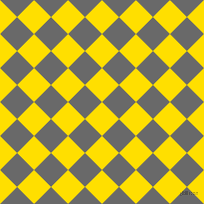 45/135 degree angle diagonal checkered chequered squares checker pattern checkers background, 49 pixel square size, , Golden Yellow and Dim Gray checkers chequered checkered squares seamless tileable