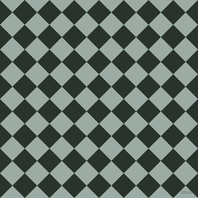 45/135 degree angle diagonal checkered chequered squares checker pattern checkers background, 57 pixel squares size, Gordons Green and Tower Grey checkers chequered checkered squares seamless tileable