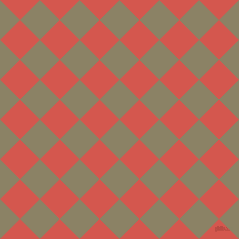 45/135 degree angle diagonal checkered chequered squares checker pattern checkers background, 57 pixel squares size, , Granite Green and Valencia checkers chequered checkered squares seamless tileable