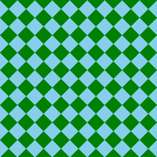 45/135 degree angle diagonal checkered chequered squares checker pattern checkers background, 50 pixel square size, , Green and Sky Blue checkers chequered checkered squares seamless tileable