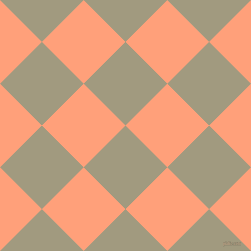 45/135 degree angle diagonal checkered chequered squares checker pattern checkers background, 118 pixel squares size, , Grey Olive and Light Salmon checkers chequered checkered squares seamless tileable