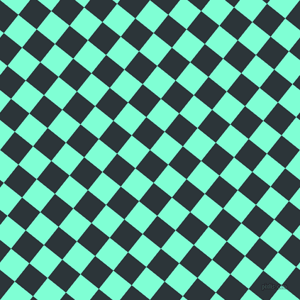 51/141 degree angle diagonal checkered chequered squares checker pattern checkers background, 33 pixel square size, , Gunmetal and Aquamarine checkers chequered checkered squares seamless tileable