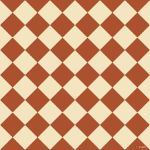 45/135 degree angle diagonal checkered chequered squares checker pattern checkers background, 61 pixel square size, , Half Colonial White and Rose Of Sharon checkers chequered checkered squares seamless tileable