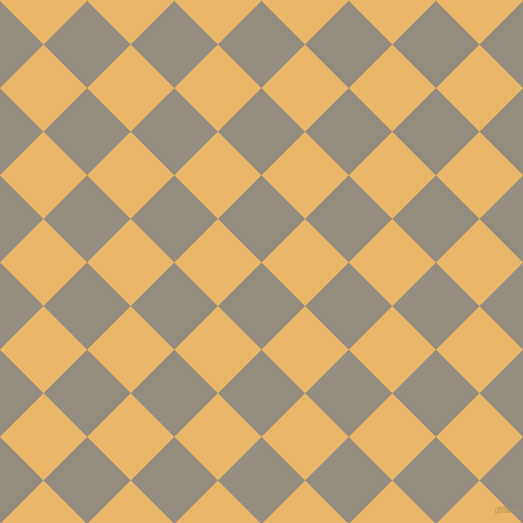 45/135 degree angle diagonal checkered chequered squares checker pattern checkers background, 89 pixel square size, , Heathered Grey and Harvest Gold checkers chequered checkered squares seamless tileable
